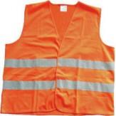 Жилет сигнальный тканевый, ярко-оранжевый, со светоотражающими маркерами