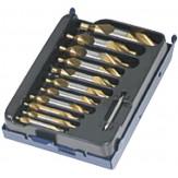 ATORN Сверла центровочные HSSE-TIN d 1-1,6-2-2,5-3,15-4-5 DIN 333 A, в футляре