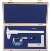 ATORN Набор измерительных инструментов из 3 шт. (арт.31003010 + арт.31342005 + арт.38126010), в деревянном футляре