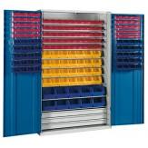 HK Шкаф стеллажный с дверцами, Модель 4 с ящиками для открытого хранения RAL 7035 / 5010