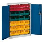 HK Шкаф стеллажный с дверцами, Модель 1 с ящиками для открытого хранения RAL 7035 / 5010