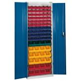 HK Шкаф стеллажный с дверцами, Модель 3 с ящиками для открытого хранения RAL 7035 / 5010