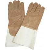 Перчатки сварщика защитные из специальной термостойкой кожи, на подкладке, длина 35 см