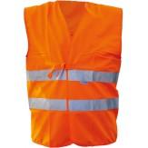 Жилет сигнальный предупредительный текстильный, цвет оранжевый, со светоотражающими полосами