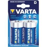 VARTA Батарейки HIGH ENERGY Mono (упак. 2 шт.) 1,5 V щелочно-марганцевые