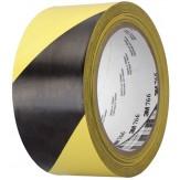 3M 766i Лента универсальная мягкая клейкая из ПВХ для предупредительной маркировки, мягкая, цвет черный/желтый, 50 ммх50 м