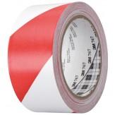3M 766i Лента универсальная мягкая клейкая из ПВХ для предупредительной маркировки, мягкая, цвет красный/белый, 50 ммх50 м