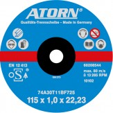 ATORN диск отрезной по металлу 115x1,0x22 мм, универсальный