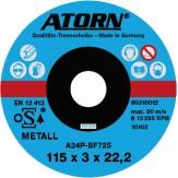ATORN диск отрезной по металлу 115x3x22 мм, универсальный