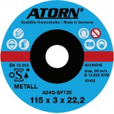 ATORN диск отрезной по металлу 115x3x22 мм, специальный