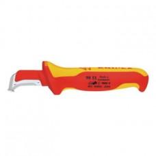 KNIPEX Нож для снятия изол. VDE, 155 мм, изог. лезвие с конт. баш., 2-комп. рук.