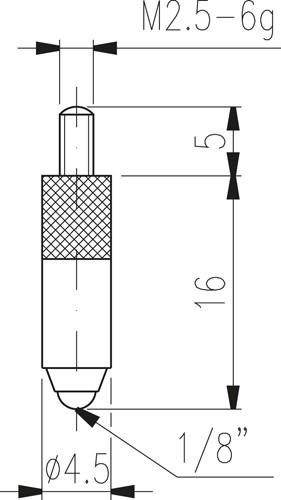 Вставка измерительная, тип 16 - шарик, l = 16 мм.
